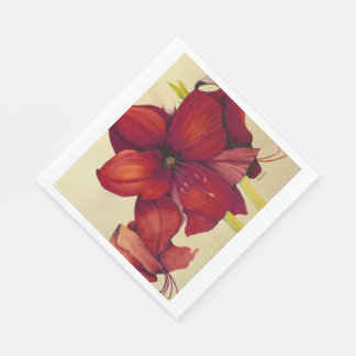 Red Christmas Amaryllis Luncheon Paper Napkins