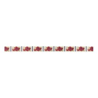 Red Christmas Amaryllis Satin Ribbon