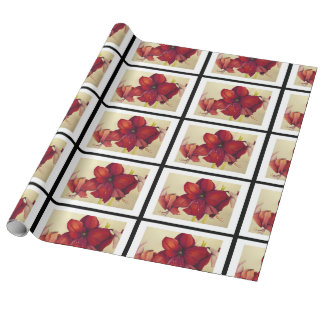 Red Christmas Amaryllis Tiled Linen Wrapping Paper