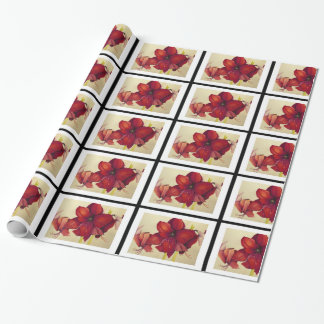 Red Christmas Amaryllis Tiled Wrapping Paper