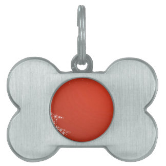 Red Christmas Background Pet Name Tags