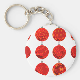 Red Christmas Balls on apparel and gifts Basic Round Button Keychain