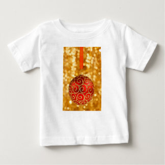 Red Christmas Bauble on Gold Baby T-Shirt