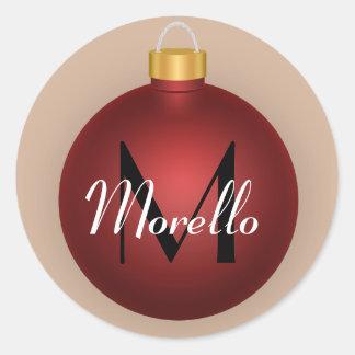 Red Christmas Bauble Ornament Custom Sticker