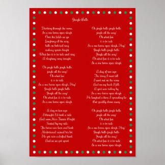 "Red Christmas Carol Jingle Bells Posters 10"" x 14"""