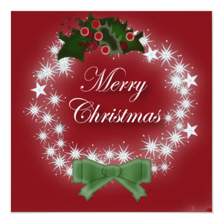 """Red Christmas Corporate Fundraising Party 5.25"""" Square Invitation Card"""