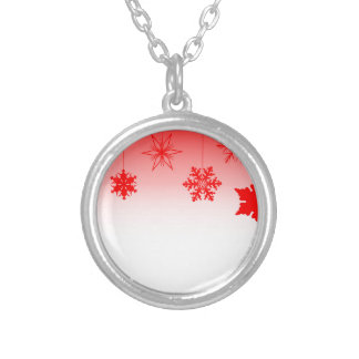 Red Christmas Decorations Silver Plated Necklace