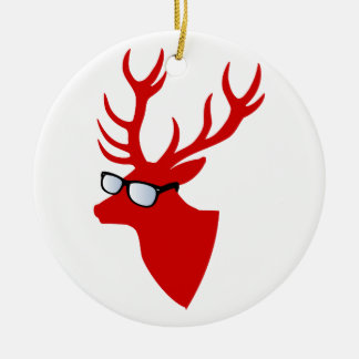 Red Christmas deer with nerd glasses Ceramic Ornament