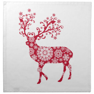 Red Christmas deer with snowflakes Napkins