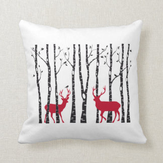 Red Christmas deers in birch tree forest Throw Pillow