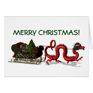 Red Christmas Dragon Card