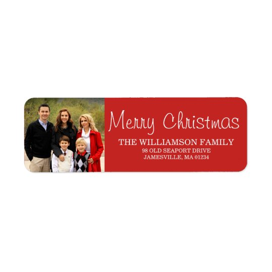 Red Christmas Family  Photo Return Address Labels