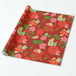 Red Christmas Flora Wrapping paper