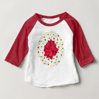 Red Christmas flower and sparkly gold stars Baby T-Shirt