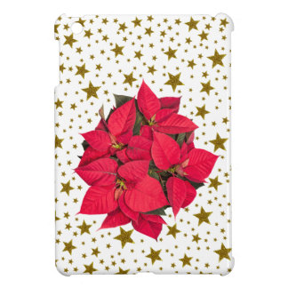 Red Christmas flower and sparkly gold stars iPad Mini Cover