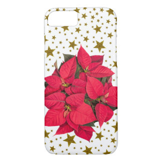 Red Christmas flower and sparkly gold stars iPhone 8/7 Case