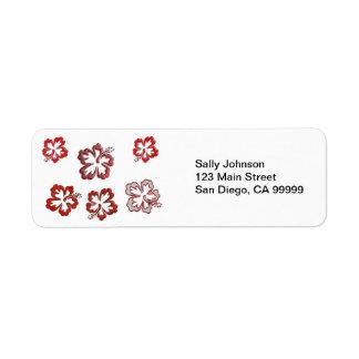Red Christmas Hibiscus Return Address Label