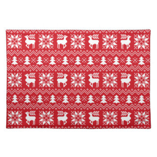 Red Christmas Holiday Sweater Pattern Placemat
