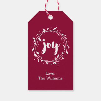 Red Christmas Joy Wreath Pack Of Gift Tags