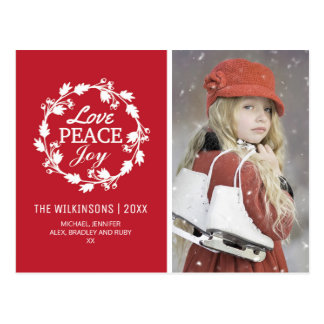 Red Christmas Love Peace Joy | Holiday Photo Postcard