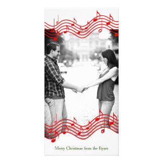 Red Christmas Music Photo Holiday Personalized Photo Card