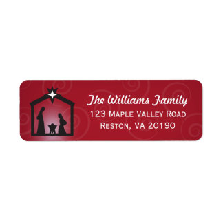 Red Christmas Nativity Address Labels