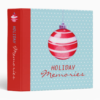 Red Christmas Ornaments blue Holiday Binder