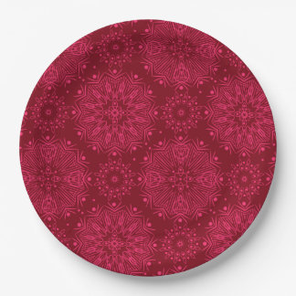 Red Christmas pattern Paper Plate