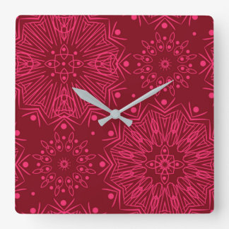 Red Christmas pattern Square Wall Clock