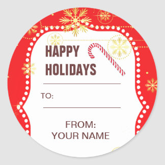Red Christmas Photo Frame Gifts Classic Round Sticker