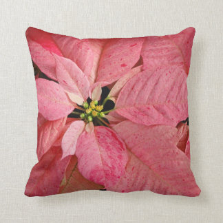 Red christmas poinsettia flowers throw pillow