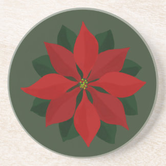 Red Christmas Poinsettia on Green Coaster