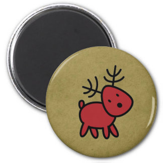 Red Christmas Reindeer Illustratio 2 Inch Round Magnet