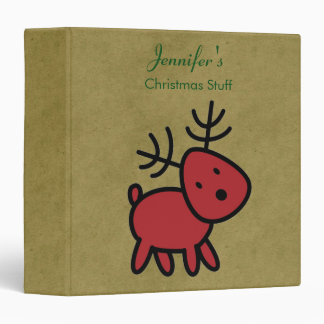 Red Christmas Reindeer Illustration 3 Ring Binder
