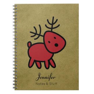 Red Christmas Reindeer Illustration Custom Spiral Notebook
