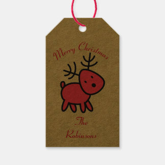 Red Christmas Reindeer Illustration Gift Tags
