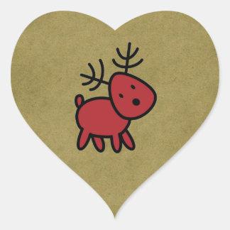 Red Christmas Reindeer Illustration Heart Sticker