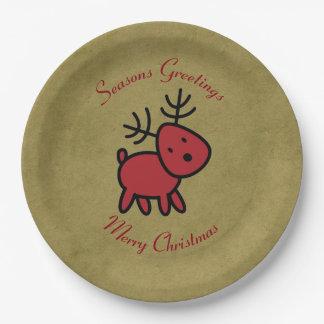 Red Christmas Reindeer Illustration Paper Plate