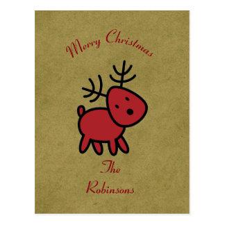 Red Christmas Reindeer Illustration Postcard