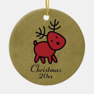 Red Christmas Reindeer Illustration Round Ceramic Ornament