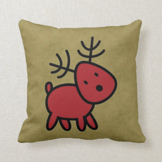 Red Christmas Reindeer Illustration Throw Pillow