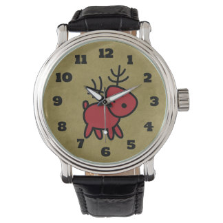 Red Christmas Reindeer Illustration Watch