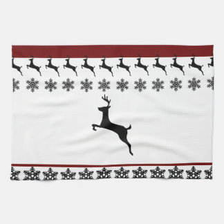 Red Christmas Reindeer Kitchen Towels