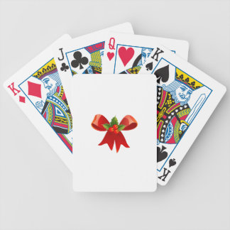 Red Christmas Ribbon Bicycle Playing Cards