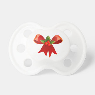 Red Christmas Ribbon Pacifier