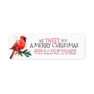 Red Christmas Robin-We Tweet You A Merry Christmas Return Address Label