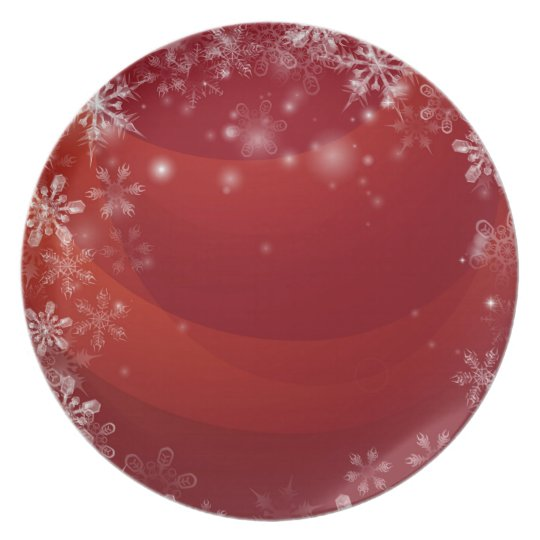 Red Christmas snow background Plate