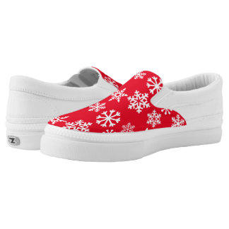 Red Christmas Snowflake Zipz Slipon Sneaker