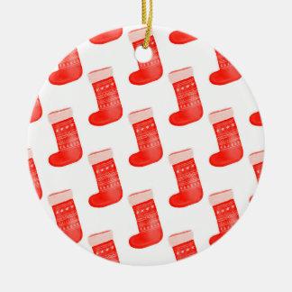 Red Christmas Socks Cute Winter Pattern Holiday Ceramic Ornament