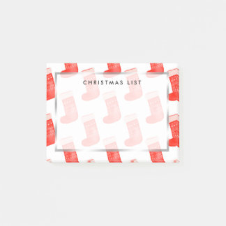 Red Christmas Socks Cute Winter Pattern Holiday Post-it Notes
